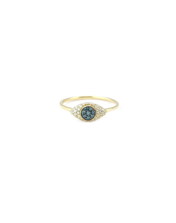 14K Gold Sapphire Diamond Evil Eye Ring