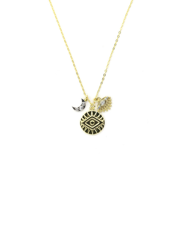 Evil Eye Moon Charm Necklace