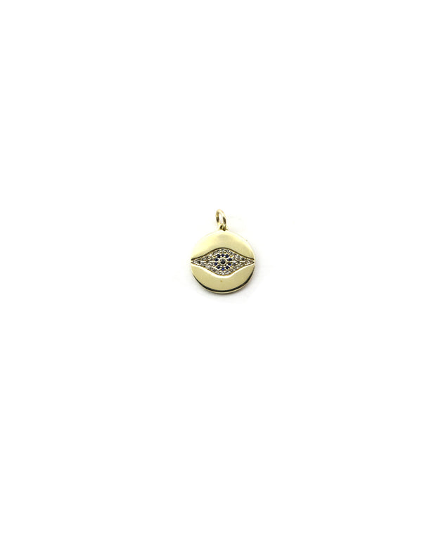 14K Gold Evil Eye Coin Charm
