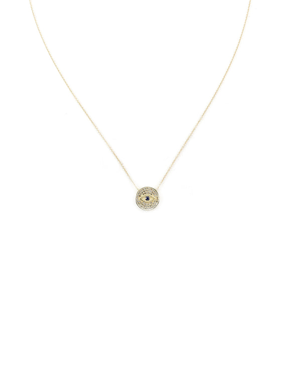 14K Gold Double-Sided Evil Eye Necklace