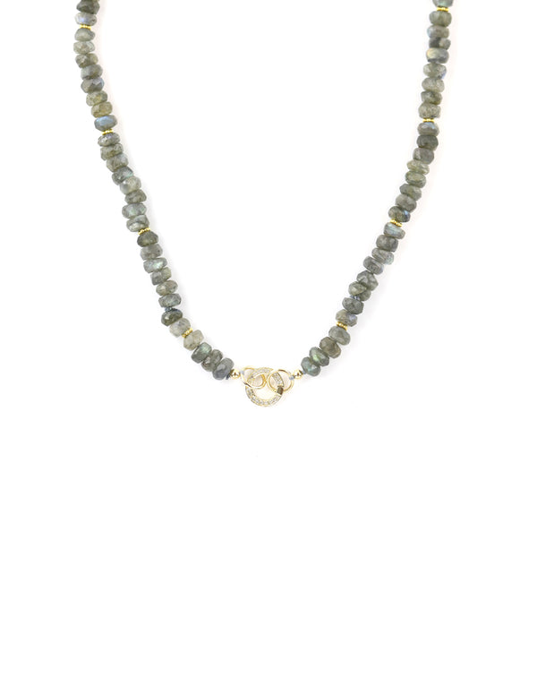 14K Gold Labradorite Mini Diamond Lock Necklace