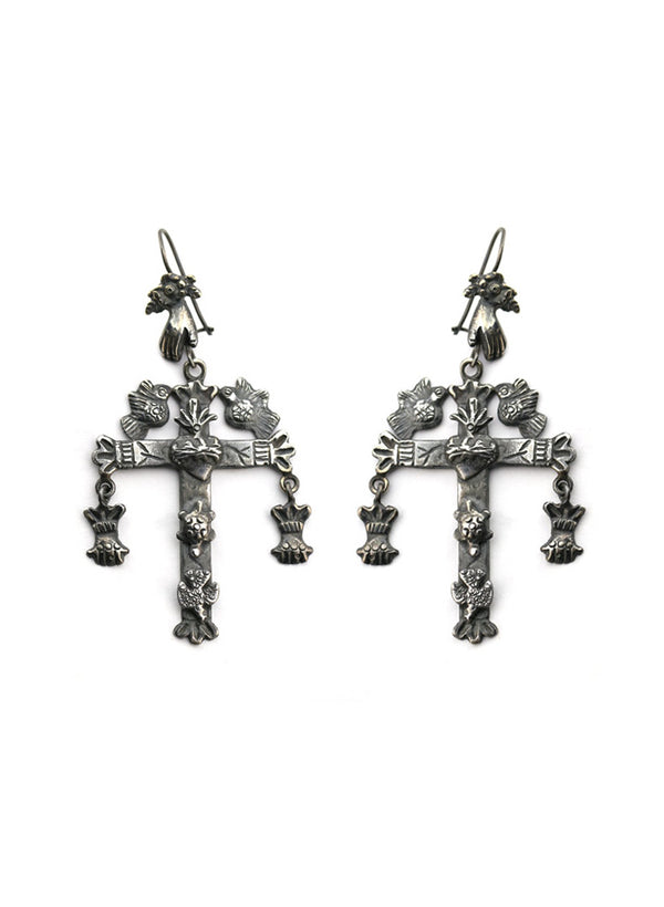Federico Chandelier Cross Earrings American Indian jewelry