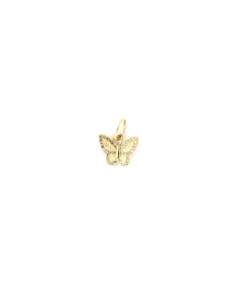 14K Gold Textured Diamond Butterfly Charm