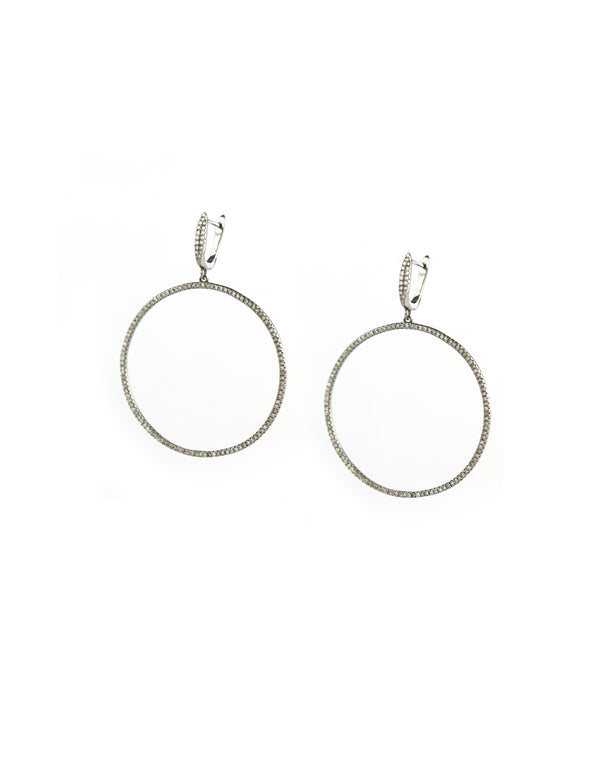 Front Facing Diamond Hoop Earrings