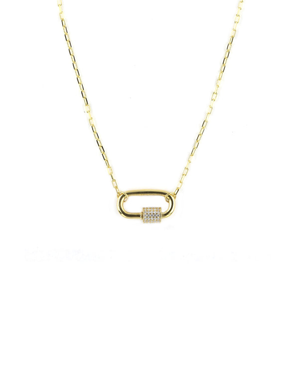 Gold Carabiner Crystal Necklace