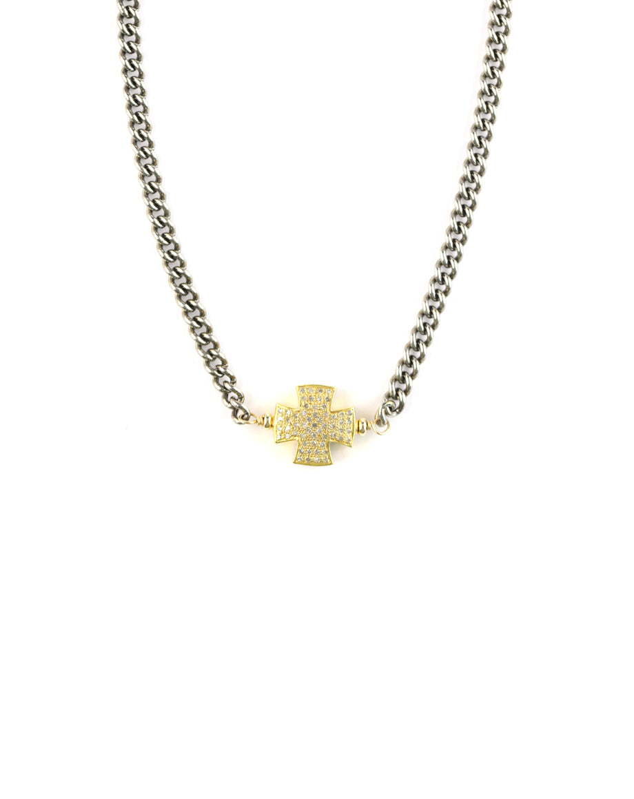 Two Toned Diamond Cross Necklace