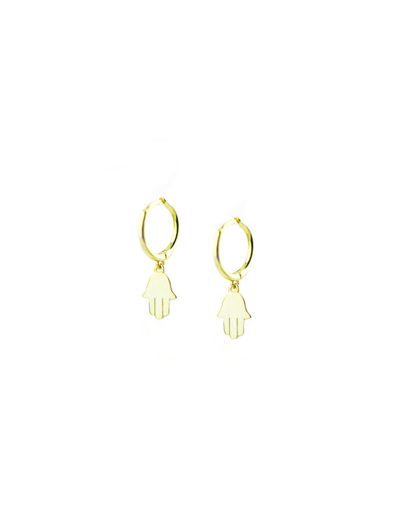 Gold Hamsa Huggie Earrings