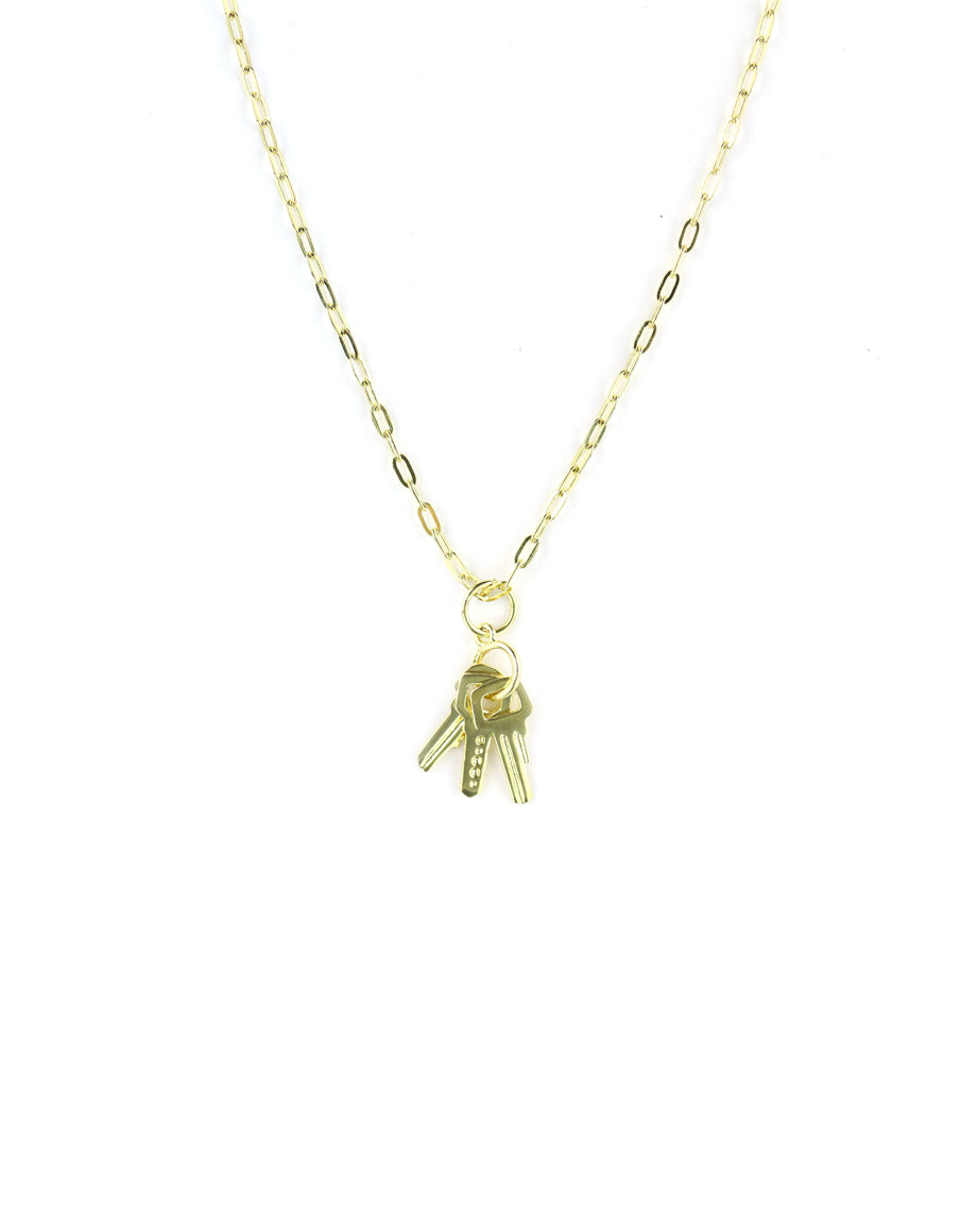 Gold Key Charm Necklace