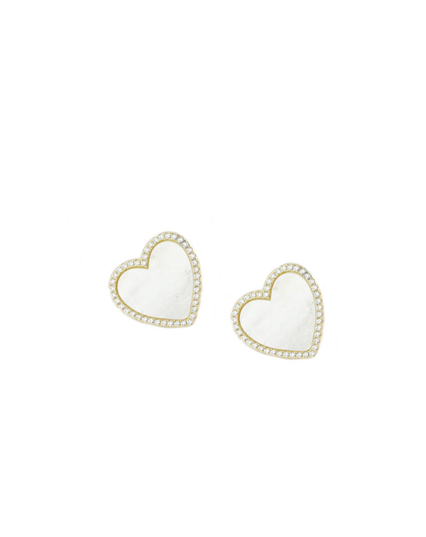 Gold Mother of Pearl Heart Studs