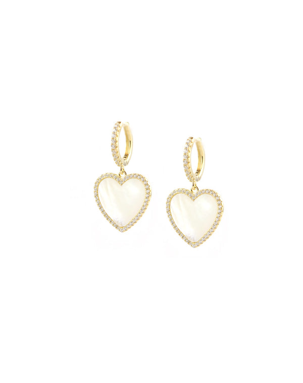 Gold Mother of Pearl Heart Charm Huggies