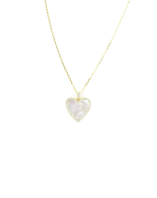 Gold Mother of Pearl CZ Heart Necklace