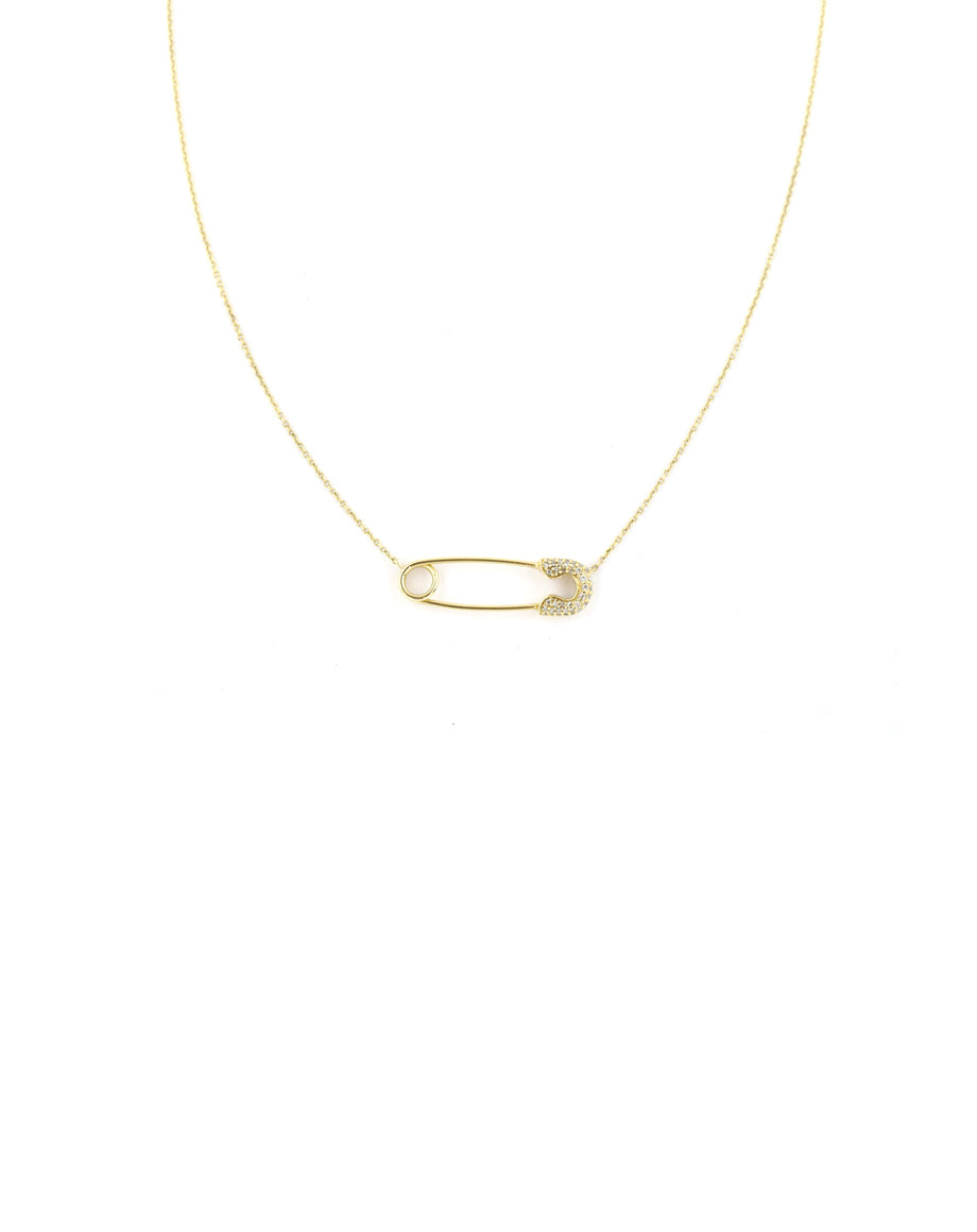 14K Diamond Safety Pin Necklace