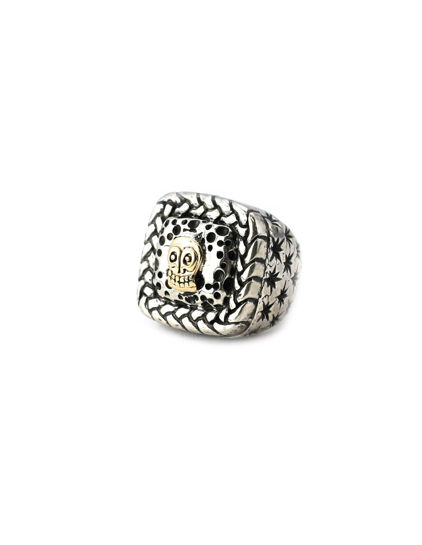 Dian Malouf Braided Square Gold Skull Ring