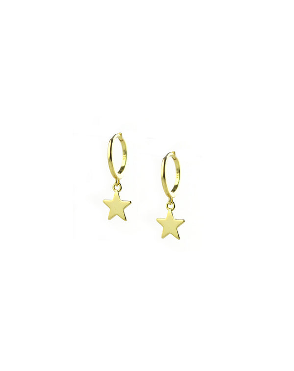 Single Gold Star Huggie Earrings
