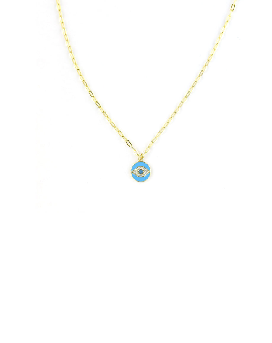 Turquoise Enamel Evil Eye Necklace