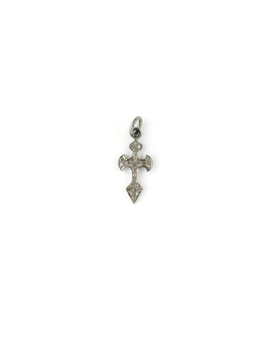 Mini Gothic Diamond Cross Charm