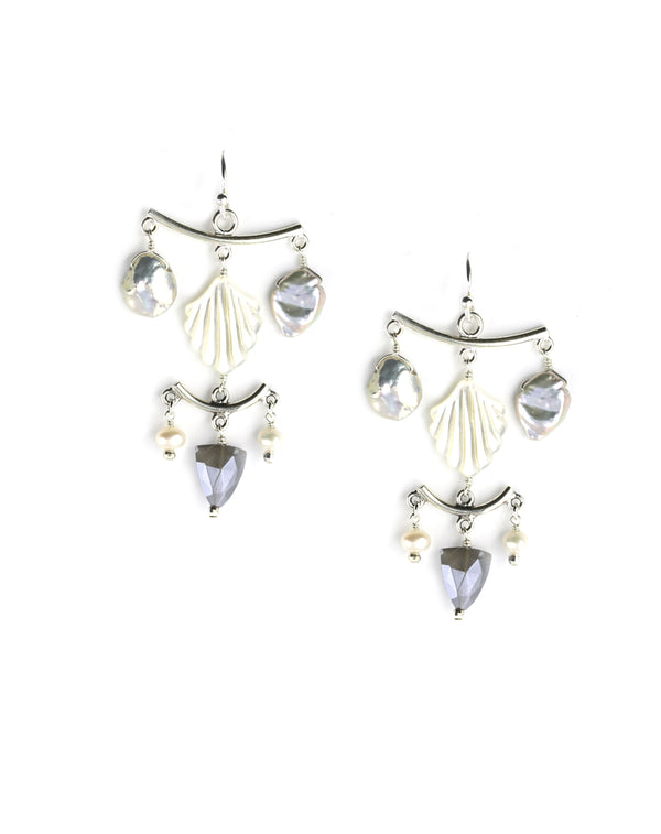 Chan Luu Gray Pearl Venus Chandelier Earrings