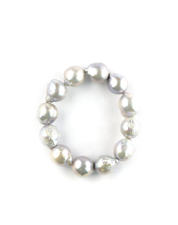 Silver Baroque Pearl Stretchy Bracelet