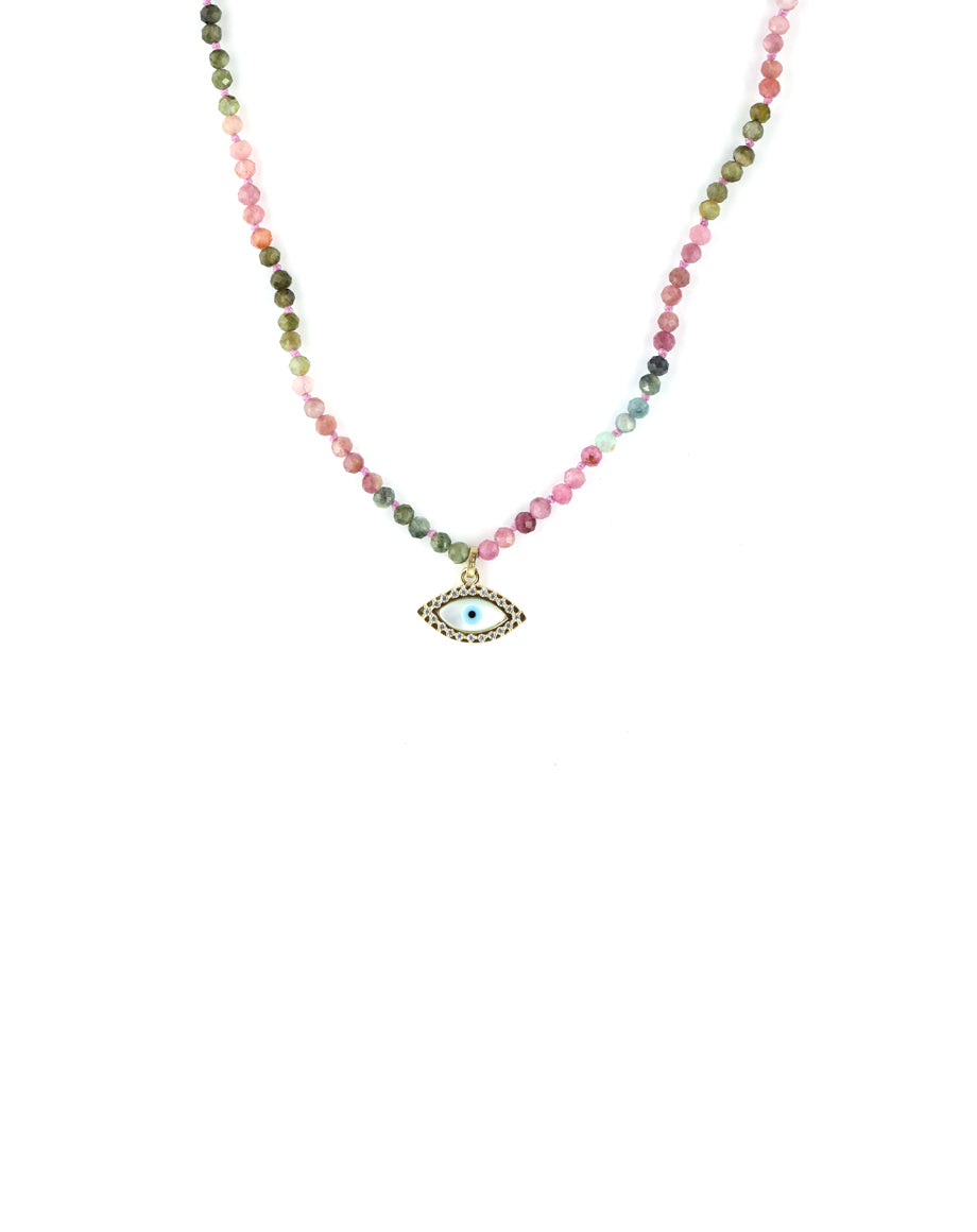 14k Gold Diamond Greek Evil Eye Tourmaline Necklace