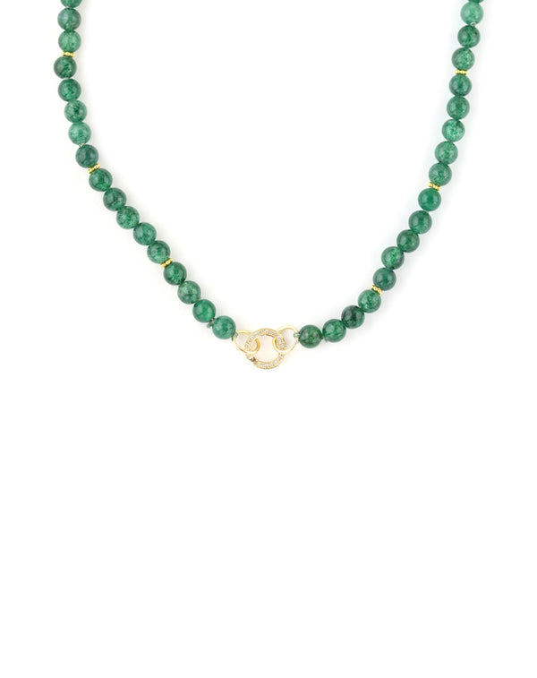 14K Gold Diamond Lock Green Aventurine Necklace
