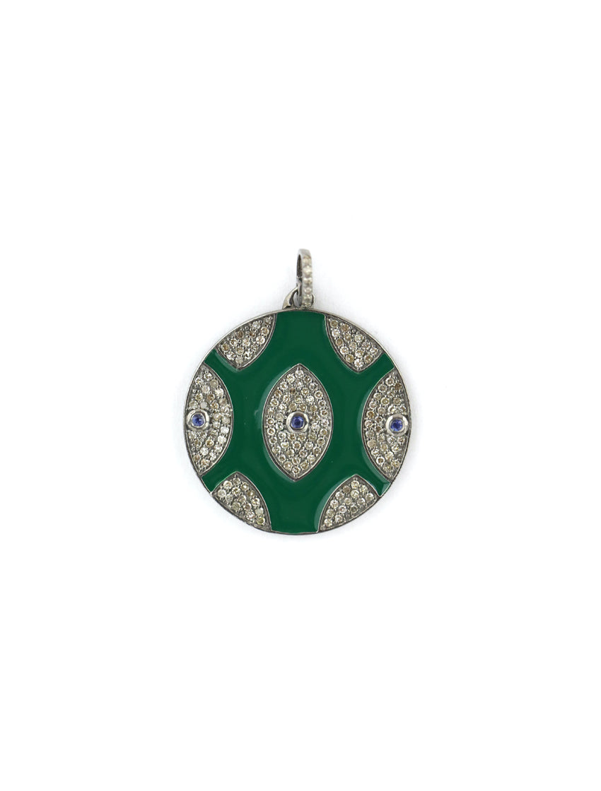 Green Multi Evil Eye Diamond Pendant
