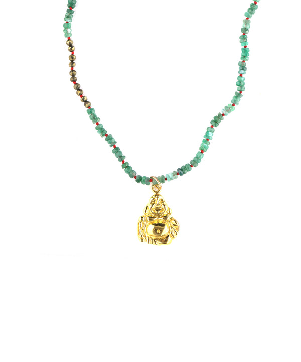 Green Tourmaline Gold Buddha Necklace