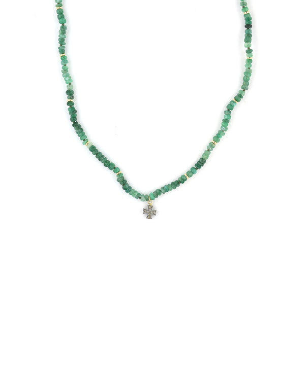 Green Tourmaline & Diamond Cross Necklace