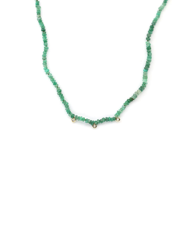 Green Tourmaline Diamond Charm Necklace