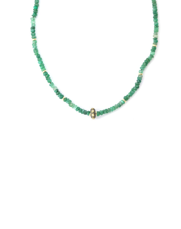 Green Tourmaline Diamond Wheel Necklace