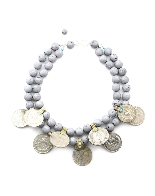She-Vah Necklace | Gray Druzi Stones with Vintage Afghan Coins