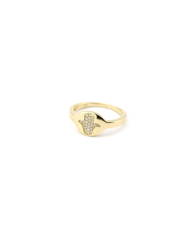 14K Gold Diamond Hamsa Signet Pinky Ring
