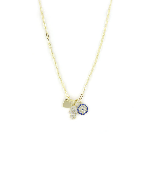Evil Eye Hamsa Heart Charm Necklace