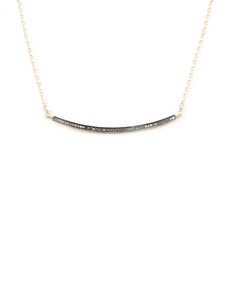 The Lina Bar Necklace - Oxidized Bar on Gold Chain