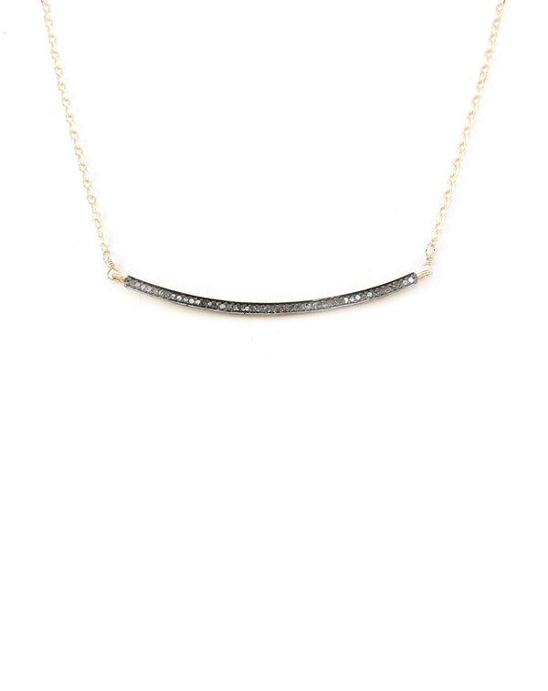 Mixed metal ID diamond bar necklace