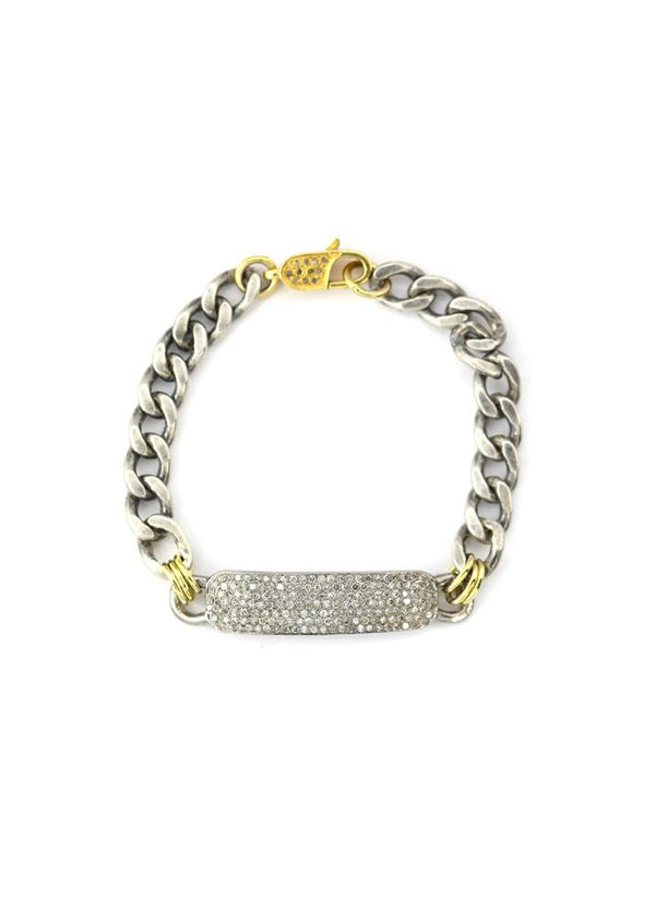 Mixed Metal ID Diamond Bracelet