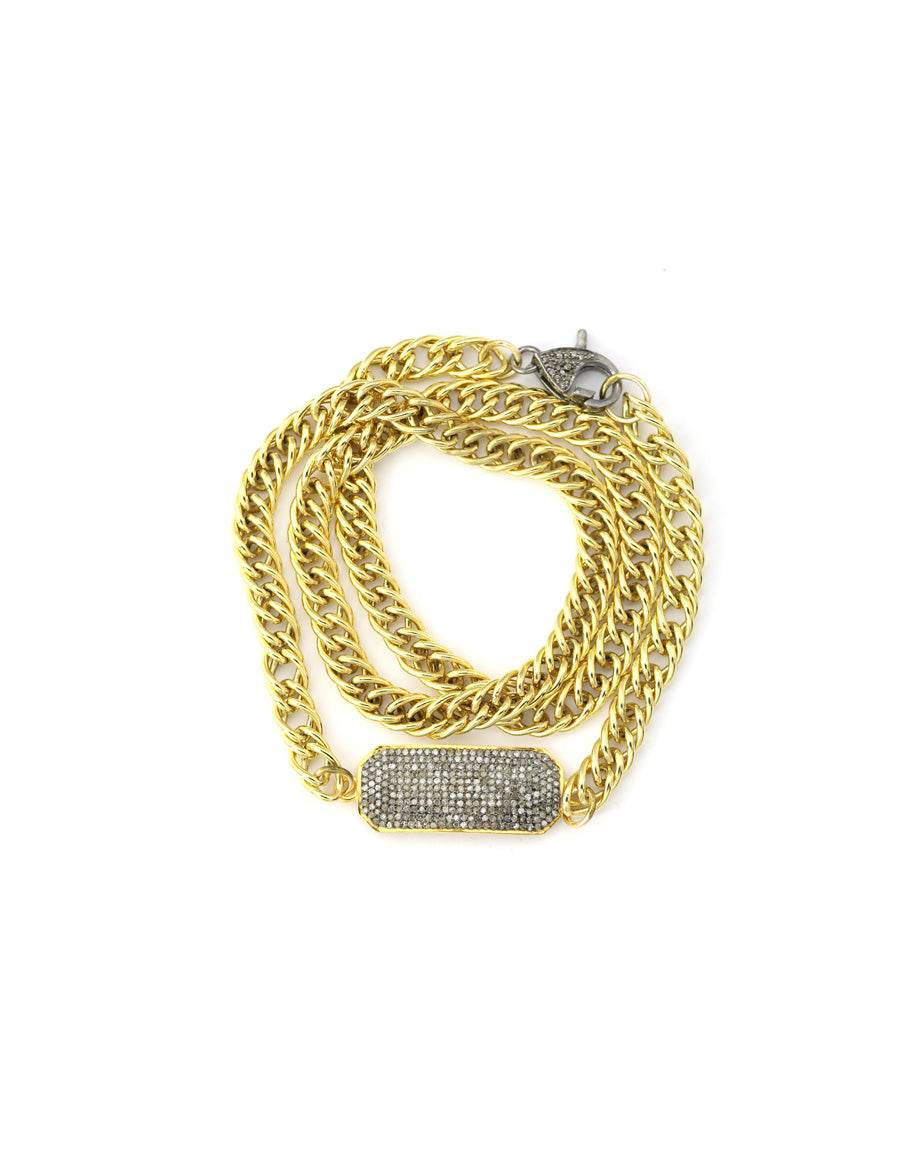 Gold Curb Chain ID Diamond Bracelet