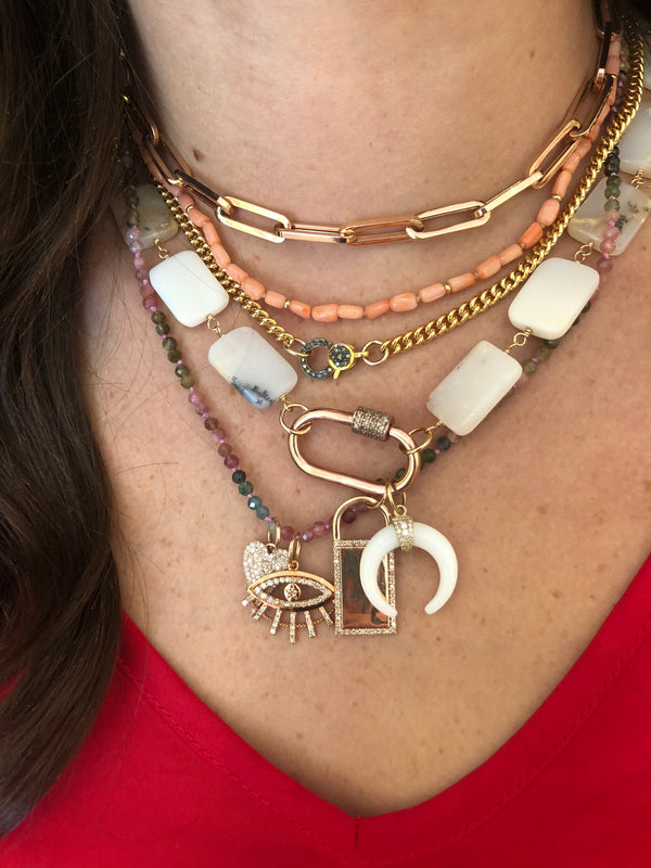 The Tin Cup Necklace: Opal + Rose Gold Lock