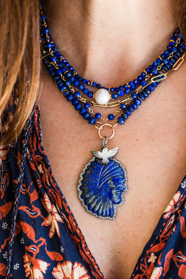 Lapis Diamond Indian Headdress Pendant