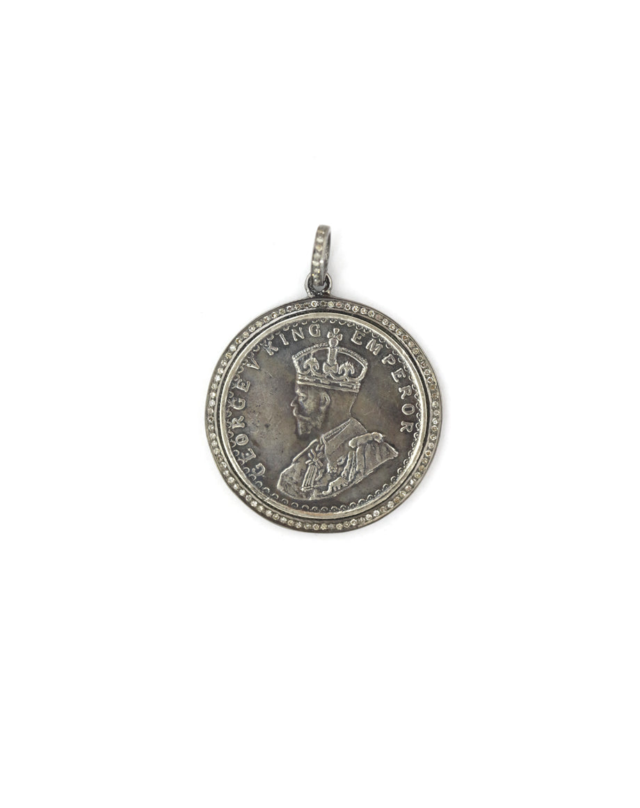 King George V Diamond Coin Pendant