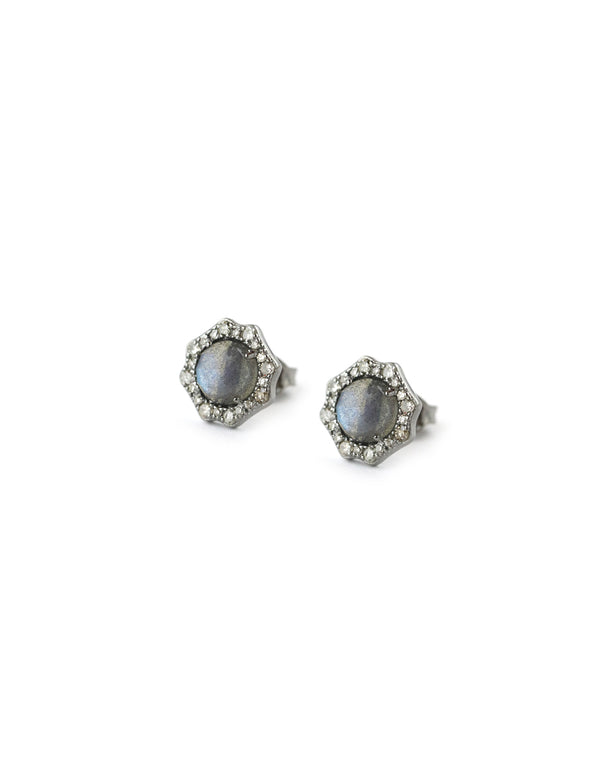Small Labradorite Diamond Stud