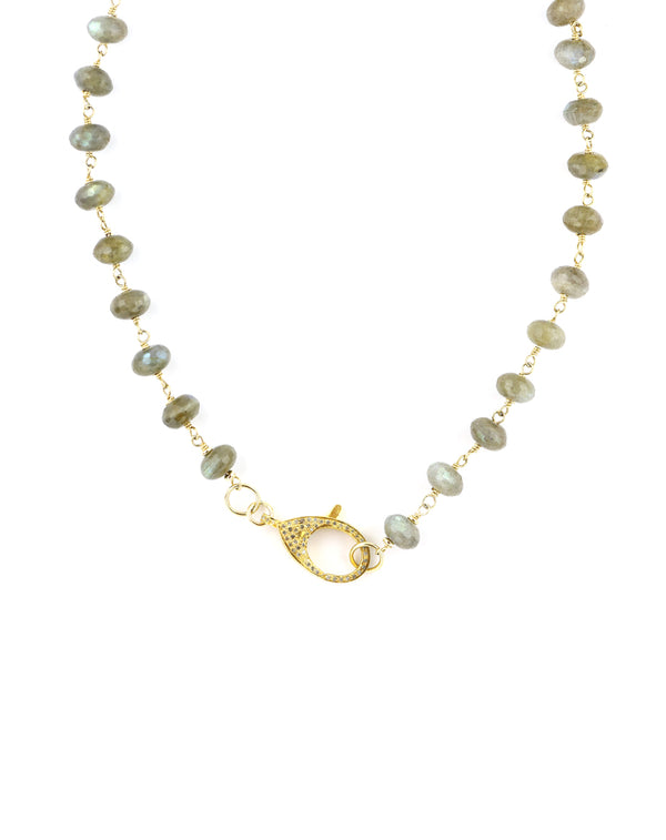 The Gem Lock Necklace: Labradorite & Gold Lock