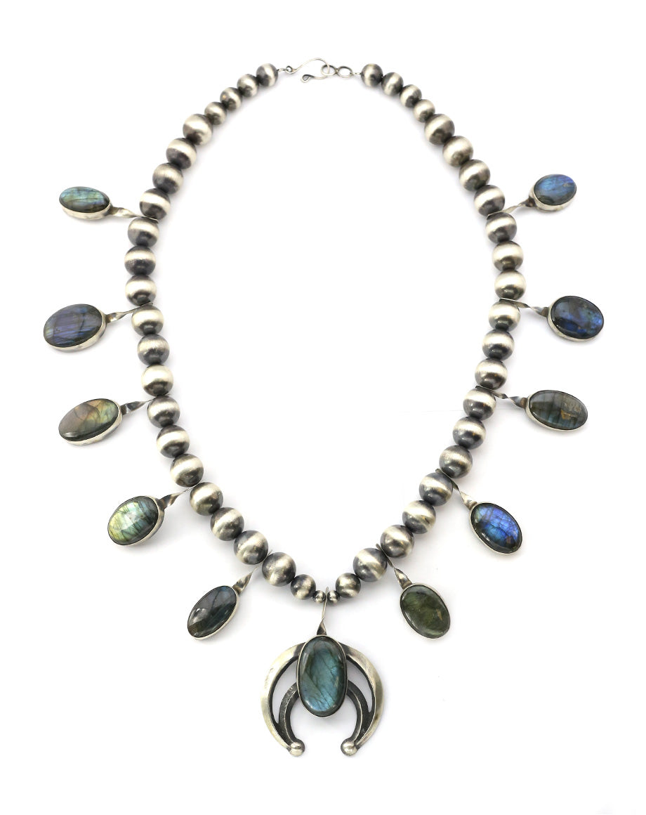 Chimney Butte Labradorite Squash Blossom Necklace