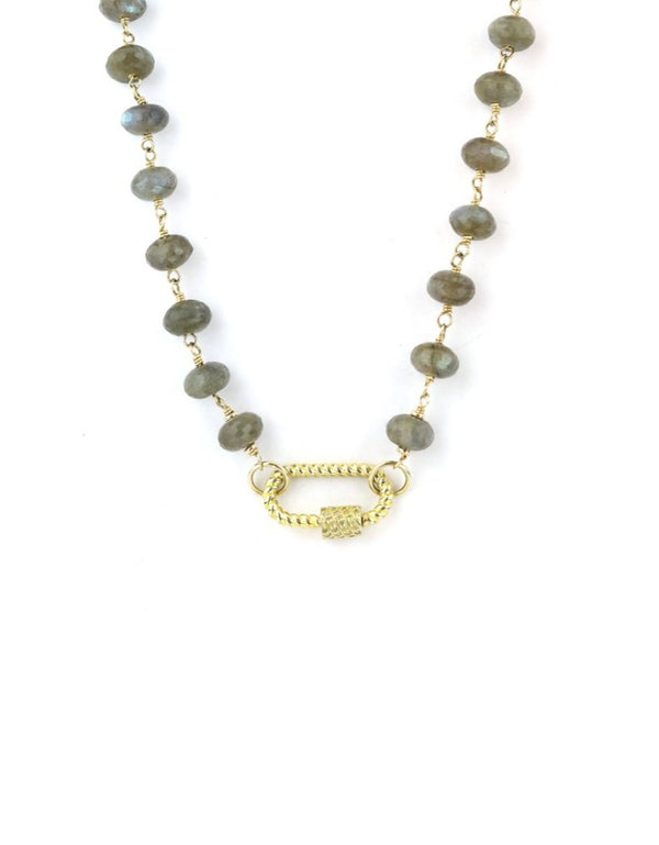 The Tin Cup Necklace: Labradorite & Gold Twisted Lock