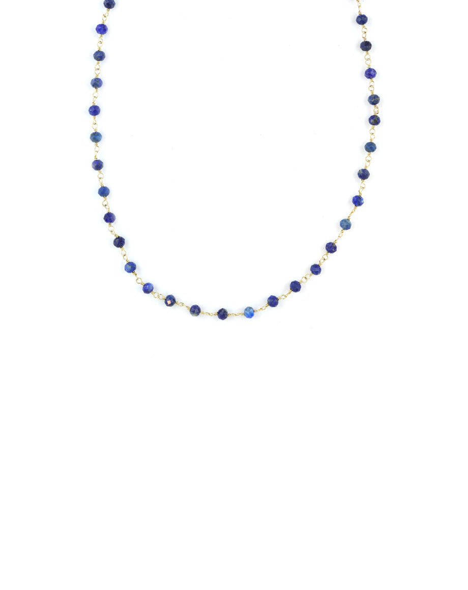 The Tin Cup Necklace: Tiny Lapis Beads