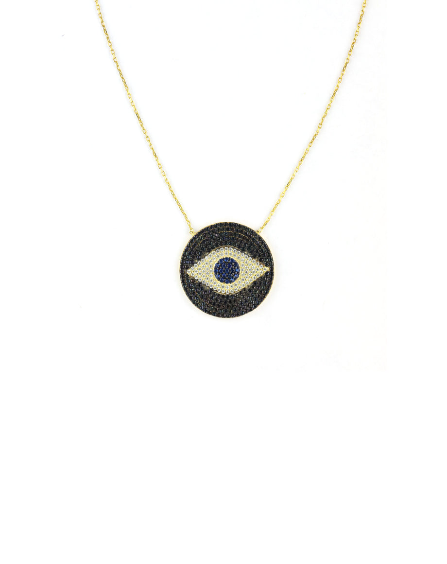 Large Black Crystal Evil Eye Necklace