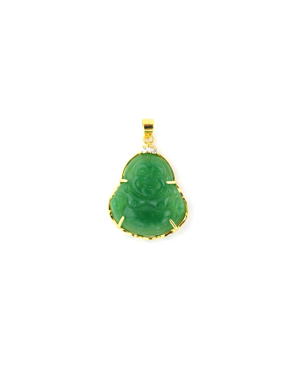 Large Gold Green Buddha Pendant