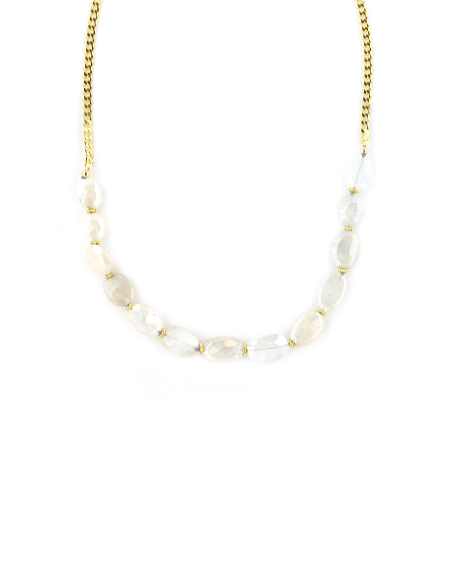 Moonstone Curb Chain Necklace