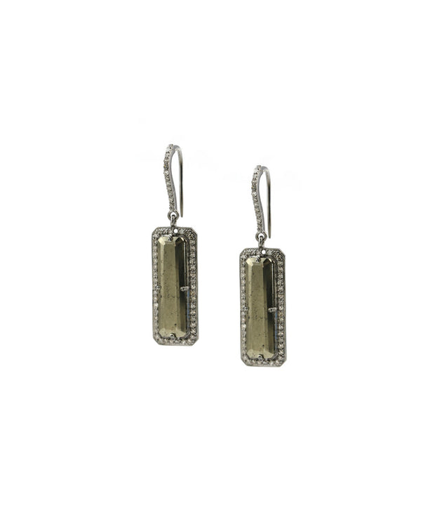 pyrite diamond earrings