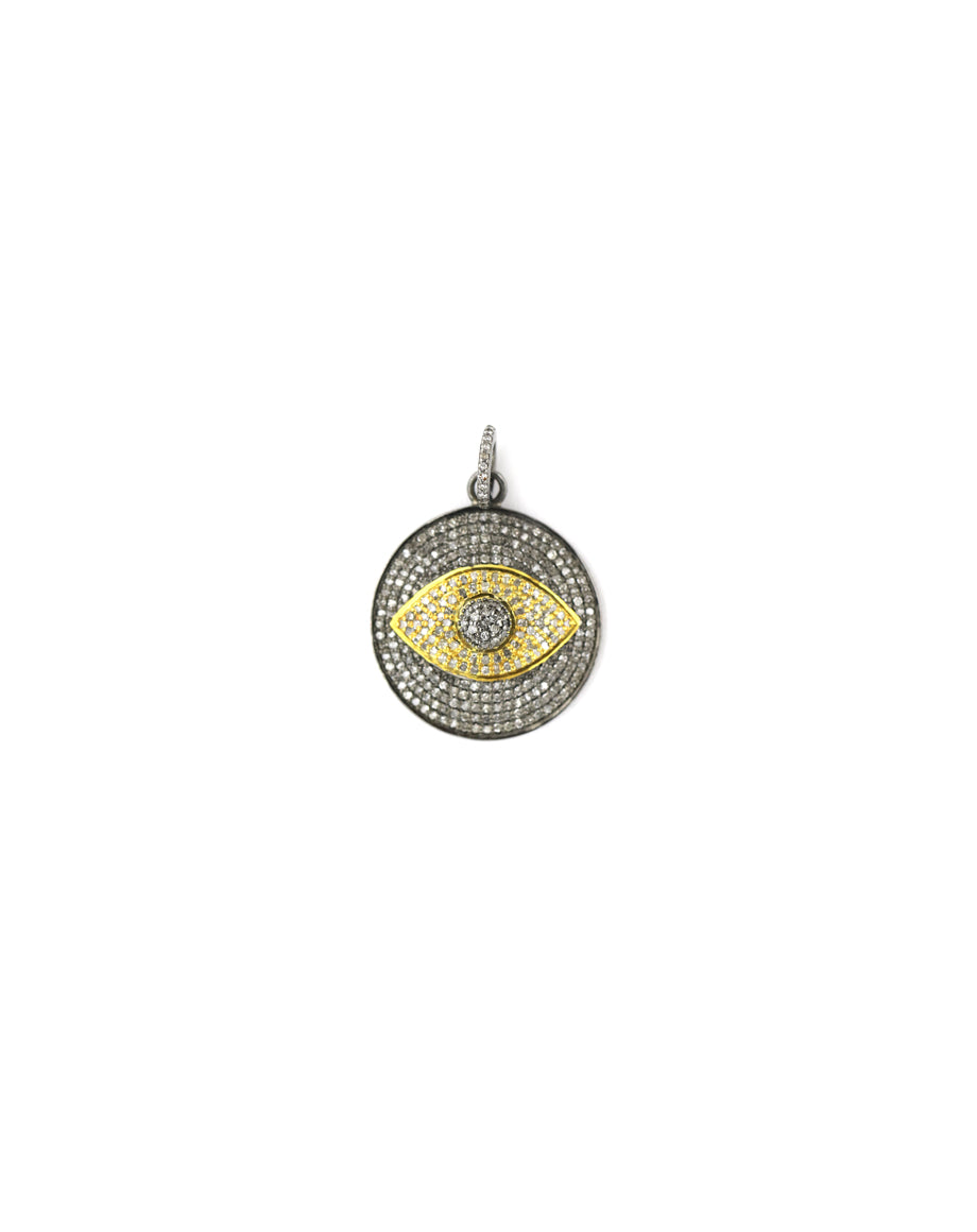 Large Two Toned Diamond Evil Eye Pendant