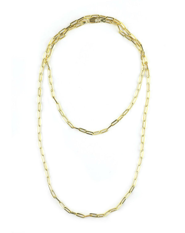 Thin Long Paper Clip Necklace - 36""